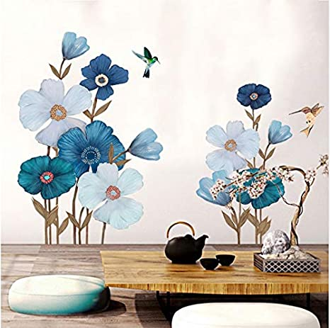 Amazon Com Wangbo Wall Sticker Large Blue Flowers Wall Sticker Painting Removable Stickers Home Decor Art Diy Living Room Wallpaper Decal Kitchen Dining