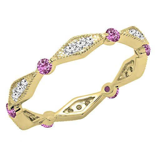 Dazzlingrock Collection 18K Round Pink Sapphire & White Diamond Ladies Wedding Eternity Band Ring, Yellow Gold, Size 8