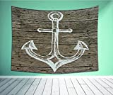 """Avamam Tapestry Wall Art Anchor Nautical Decor Hand Drawing Boating Sketch Taupe Rustic Wooden Planks Coastal Home Buoy Kids Decor Brown Whit Wall Hanging For Bedroom Living Room Dorm Size-60""""Wx51""""H"""