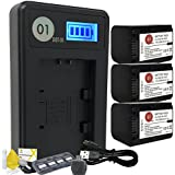 DOT-01 3x Brand 2400 mAh Replacement Sony NP-FH70 Batteries and Smart LCD Display Charger for Sony A330 Digital SLR Camera and Sony FH70 Accessory Bundle