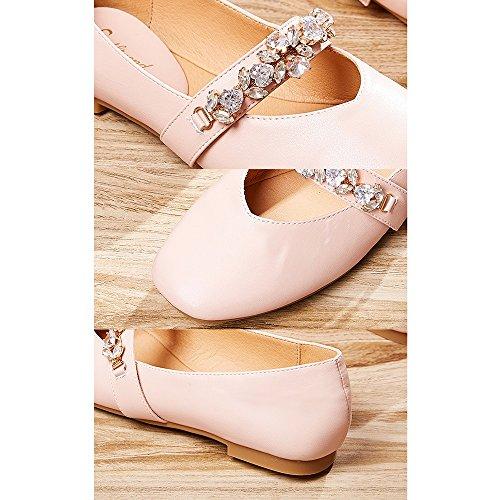 Moda EU38 Zapatos Diamante Bonita De Tamaño Mujer Color Profunda Sandalias 5 Blanco De YQQ Boca Verano Pink Imitación Acogedor De Salvajes Zapatos Poco Planos UK5 Sandalias BdOOqa