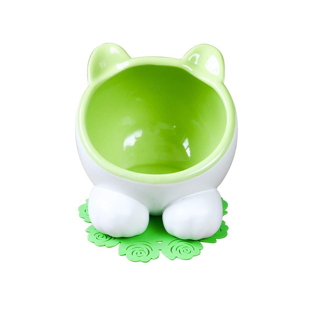 Green B Cat Bowl,Pet Bowl,15° Tilt Platform Pet Double Bowl Feeder, Ceramic Hand Made,bluee Green (color   Green B)