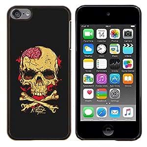 """Be-Star Único Patrón Plástico Duro Fundas Cover Cubre Hard Case Cover Para iPod Touch 6 ( Cerebros Cráneo Amarillo Negro bandera pirata"""" )"""