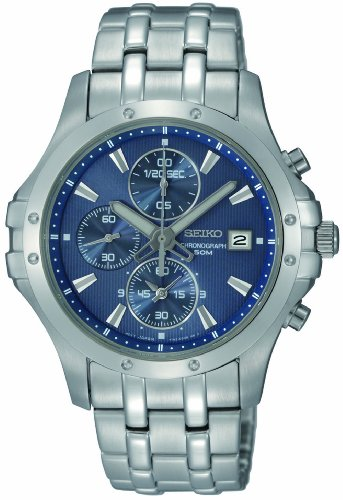 Seiko Men's SNDC97 Stainless Steel Analog with Blue Dial Watch