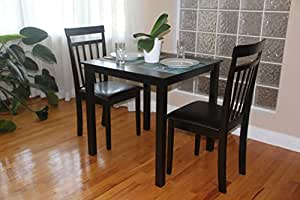 3 Pc Dining Room Dinette Kitchen Set Square Table And 2 Warm Cha