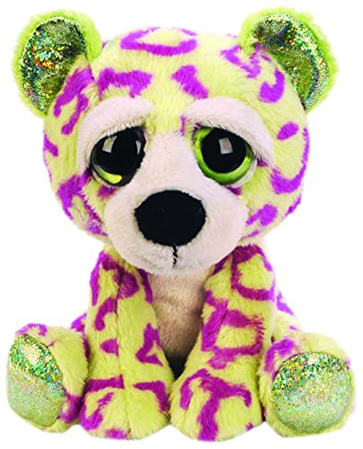 Suki Gifts Lil Peepers Fun Sasha Leopard Plush Toy with Green Sparkle Accents (Medium, Gree/Purple)