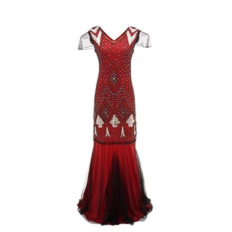 Mujeres Vintage 1920s Abalorios de Lentejuelas Adornado Fiesta Vestido de Gatsby de Flapper LILICAT❣ Vestido