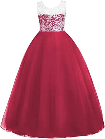 IWEMEK Little Big Girls Floor Length Flower Lace Tulle Bridesmaid Dress Long Pageant Party Wedding Maxi Evening Dance Gown 5-16 Years