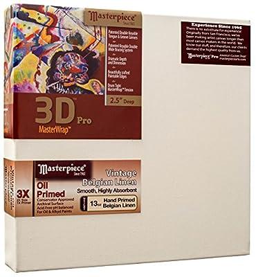 """Masterpiece Artist Canvas 46158 3D Pro 2-1/2"""" Deep, 24"""" x 96"""", Linen13.0oz - 3X - Vintage Oil Primed"""