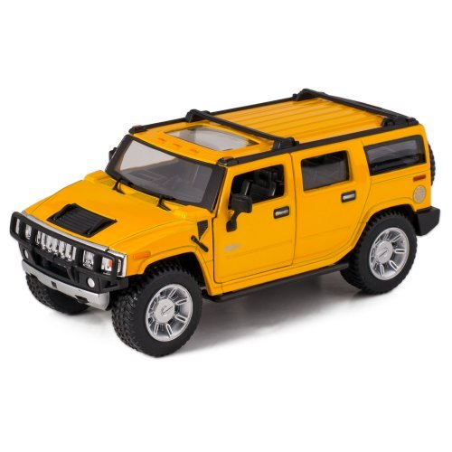 Yellow 2008 Hummer H2 SUV Die Cast Toy with Pull Back Action
