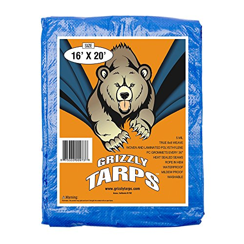 B-Air GTRP1620 Grizzly Tarps 16 x 20 Feet Blue Multi Purpose Waterproof Poly Tarp Cover 5 Mil Thick 8 x 8 Weave
