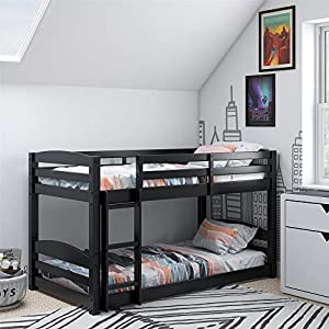 Dorel Living Phoenix Solid Wood Twin over Twin Floor Bunk Beds with Ladder and Guard Rail, Mocha 6