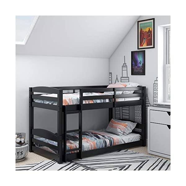 Dorel Living Phoenix Solid Wood Twin over Twin Floor Bunk Beds with Ladder and Guard Rail, Mocha 1