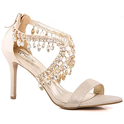Unze New Women Ladies 'Reenam' Diamante Embellished Lace up Low Mid High Heel Evening, Wedding, Prom Party Shoes Sizes 3-8 - FEE1020-16