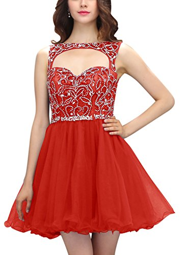 Bbonlinedress Vestido De Fiesta Corto Mini De Tul Con Cuentas Gala De Cóctel Rojo