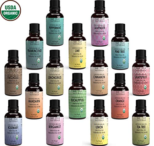 Top 16 Essential Oil Set, USDA Certified Organic, 16 Glass Bottles / 10 ml each, Lavender Peppermint Lemon Orange Lemongrass Rosemary Eucalyptus Tea Tree Mandarin Lime Frankincense Patchouli Pine Tre ()
