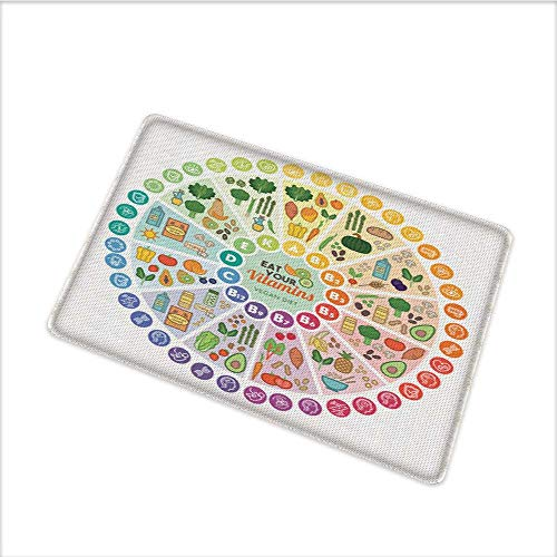 Door Mats Area Rug, Vitamin Vegan Food Sources and Functions Rainbow Wheel Chart with Icons Healthcare, Floor mat Bath Mat with Durable Non-Slip Mildew Resistant, W31.5 x H19.5 INCH, Multicolor