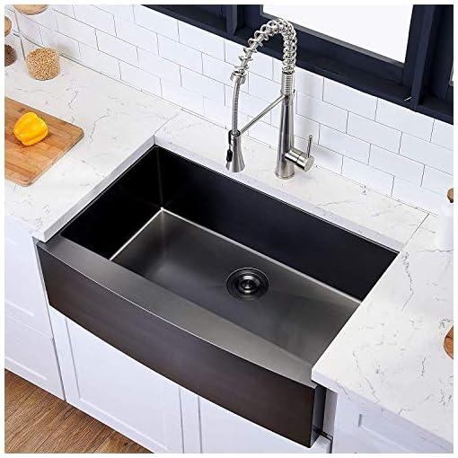 Farmhouse Kitchen Hotis Modern Single Bowl 33 Inch Apron Front Black Stainless Steel Farmhouse Kitchen Sink,Undermount Black Curved Sink… farmhouse kitchen sinks