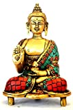 Large Buddha Statue Art Decor Brass Metal Buddhist Gifts 6 Inches - Antique Statue with Turquoise Inlay Chinese Tibet Buddhism Tibetan Meditation