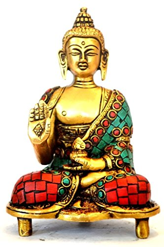 Large Buddha Statue Art Decor Brass Metal Buddhist Gifts 6 Inches - Antique Statue with Turquoise Inlay Chinese Tibet Buddhism Tibetan Meditation (Tibet Old Inlay)