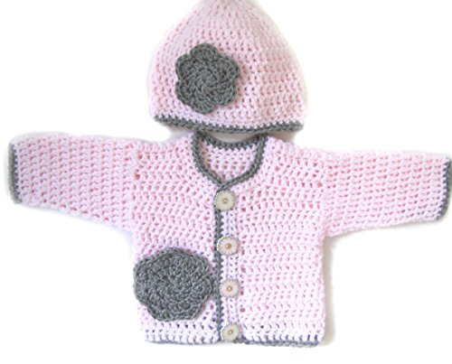 KSS Handmade Crocheted Light Pink Sweater Set 3 Months