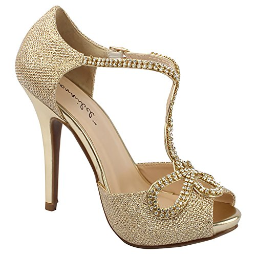 Bonnibel Womens Tiara-2 Stiletto Heel Glitter Evening Wedding Promo Sandals Shoes,Gold,8