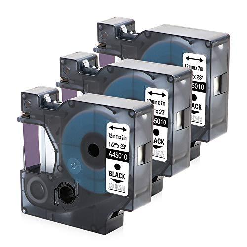 D1 Label Tape Black on Clear Compatible Dymo D1 45010 S0720500 Refills for DYMO Label Maker 160 280 420P 220P 360D 450 210D, 3 Cartridges