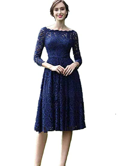Kxry Womens Vintage Short Dark Navy Blue Lace Mother Of The
