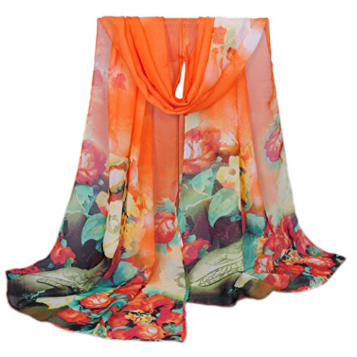 Scarf,Han Shi Fashion Women Long Soft Shawl Wrap Flower Print Chiffon Voile Scarves (L, Orange)