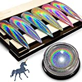 Holographic Chrome Nail Powder - iMethod Premium Salon Grade Rainbow Unicorn Mirror Effect Multi Chrome Manicure Pigment, 0.04oz/1g