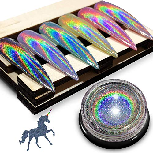 Holographic Chrome Nail Powder - iMethod Premium Salon Grade Rainbow Unicorn Mirror Effect Multi Chrome Manicure Pigment, ()