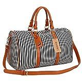 BAOSHA HB-24 Ladies Women Canvas Weekender Bag Travel Duffel Tote Bag Weekend Overnight Travel Bag (Black)