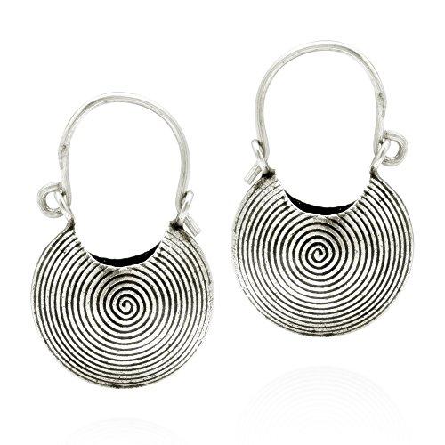 (Hilltribe Handmade Spiral Print Basket .925 Sterling Silver Hoop)