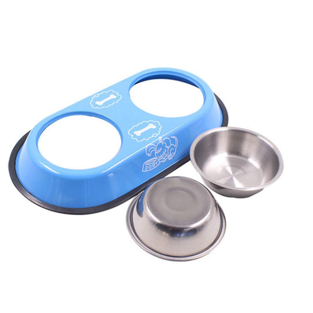 S NYDZDM bluee Dog Bowl Stainless Steel Travel Feeding Feeder Water Bowl for Pet Dog Cat Puppy Food Bowl Water Dish (Size   S)