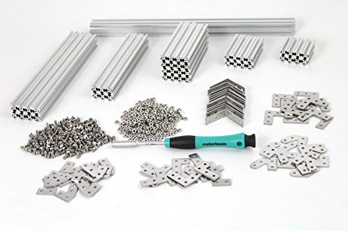 MakerBeam Regular Starter Kit Clear anodized including beams, brackets, nuts and bolts by MakerBeam