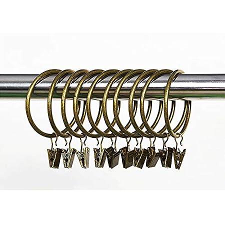 LAAT 10Pcs Anneaux /à Pince pour Rideau,Antirouille Anneaux de Rideaux avec Pinces Metal Rideau Clips Crochet,Maison D/écoration L-42mm