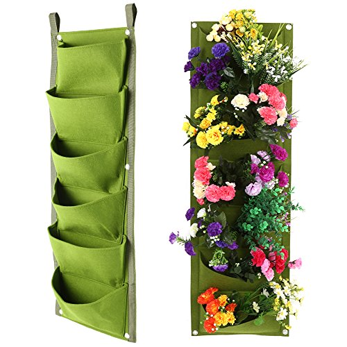 Wrightus Garden Hanging Wall Planter Bag, 6 Pockets Hanging Vertical ...