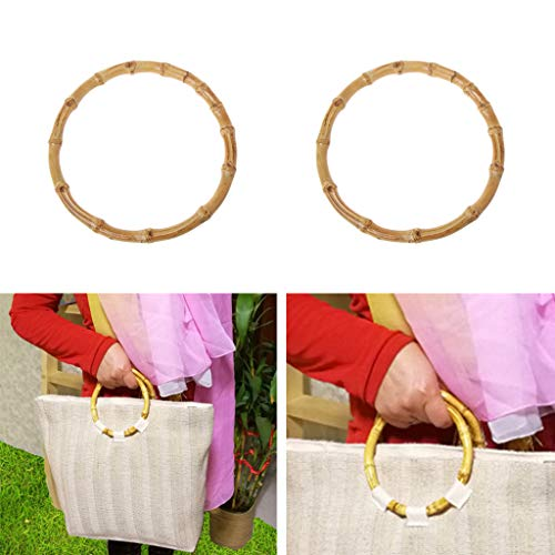 Cicitop 1 Pair Bamboo Handbag Handles Replacement Purse Handles Bag Handle for Bag Making ()