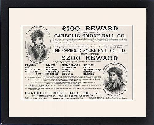 Framed Print Of Carbolic Smoke Ball/1893