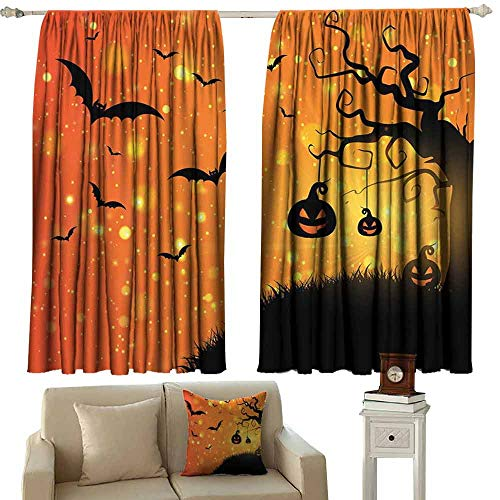 (DUCKIL Heat Insulation Curtain Halloween Magical Fantastic Evil Night Icons Swirled Branches Haunted Forest Hill Blackout Draperies for Bedroom Window W63 xL45 Orange Yellow)