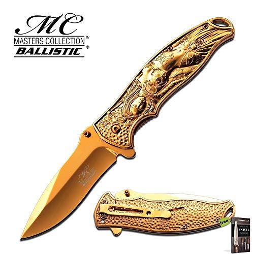 Hibben Chrome Knife - SPRING-ASSIST FOLDING POCKET KNIFE Gold Chrome Fantasy Enchantress Woman Carbon Sharp Blade Knife + Free eBook by SURVIVAL STEEL