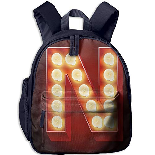 s School Backpack with Pocket Letter N Old Fashioned Movie Theater Carnival Casino Entertainment Night Life Decorative Vermilion Yellow Black ()