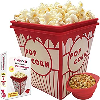 Silicone Microwave Popcorn Popper with Collapsible Measuring Cup - Prepare Healthy and Original Home-Made Popcorn in Under 3 Minutes in the Microwave - No Oil Needed
