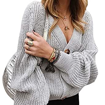 Women's Fashion V Neck Open Front Button Down Cardigan Sweater Loose Long Sleeve Knit Sweater Coats Gery XS