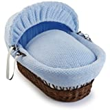 Clair de Lune Honeycomb Dark Wicker Moses Basket (Blue) by Clair de Lune