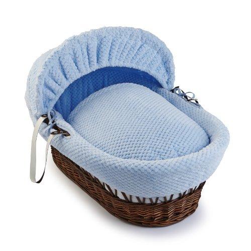Clair de Lune Honeycomb Dark Wicker Moses Basket (Blue) by Clair de Lune
