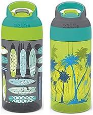 Zak Designs Riverside Kids Water Spout Cover and Button Release, Made of Durable Plastic, Leak-Proof Bottle De