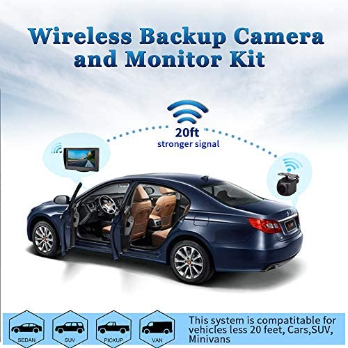 Wireless Backup Camera with 4.3 Monitor Gizzsh Wireless Rear View Camera HD Color Night Vision Backup Reverse Parking Camera 230WX