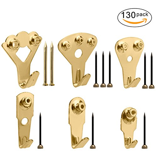 Picture Hangers, Micobin 130 Pcs Picture Hanging Kit, Heavy Duty Picture Photo Frame Hooks for Wall Mounting with Nails, Picture Wall Hangers Holds 10-100 lbs