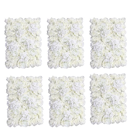 - MonkeyJack 6 Pieces Romantic Artificial Flowers Wall Panel Wedding Venue Floral Decor-Cream